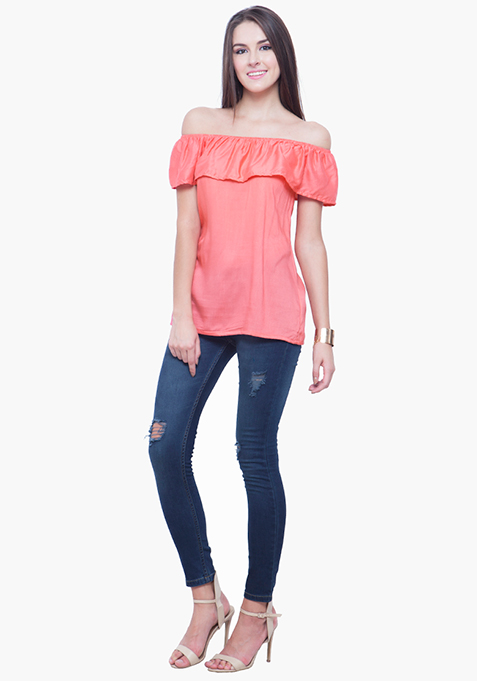 Off-Shoulder Ruffled Top - Coral