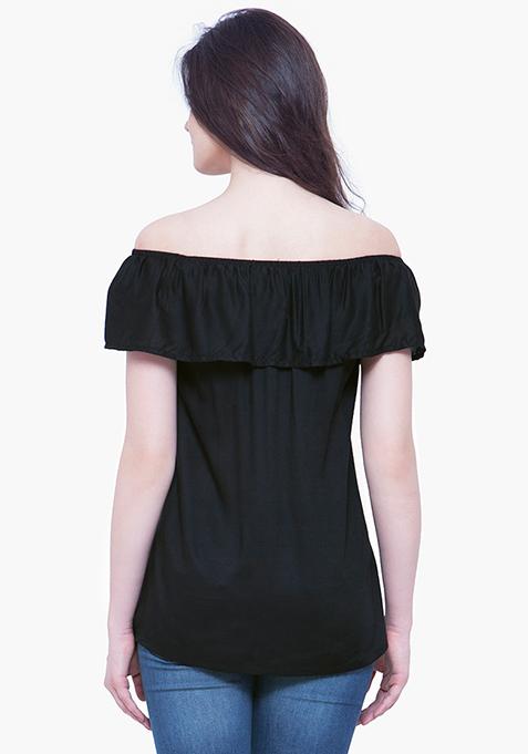 Off-Shoulder Ruffled Top - Black