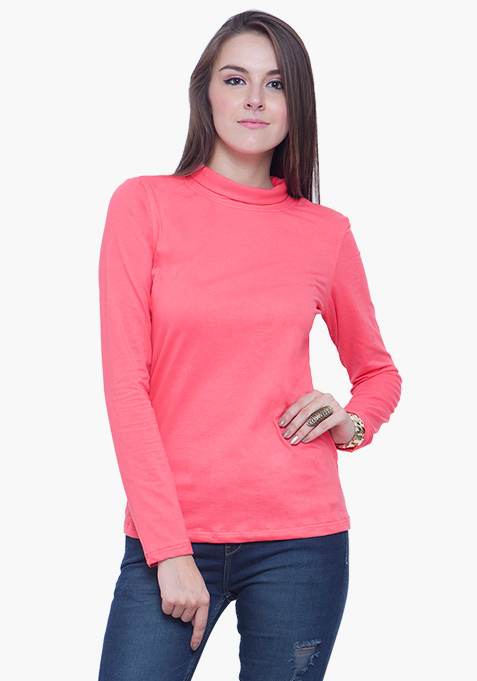 Turtle Neck Tee - Pink
