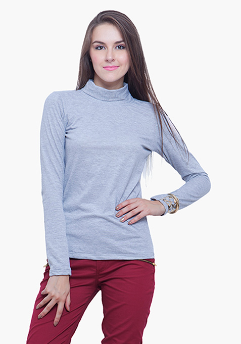 Turtle Neck Tee - Gray