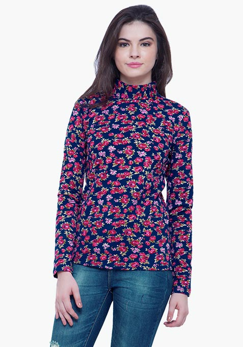 Turtle Neck Tee - Floral