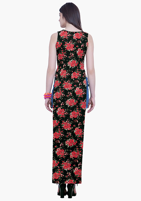 Maxi Tunic Top - Red Floral