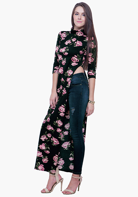 Turtle Neck Maxi Top - Pale Floral