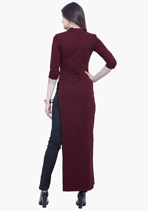 Turtle Neck Maxi Top - Oxblood