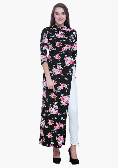 Turtle Neck Maxi Top - Dark Floral