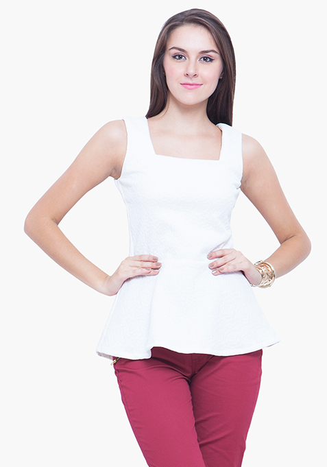 Peplum Perfect Top - White