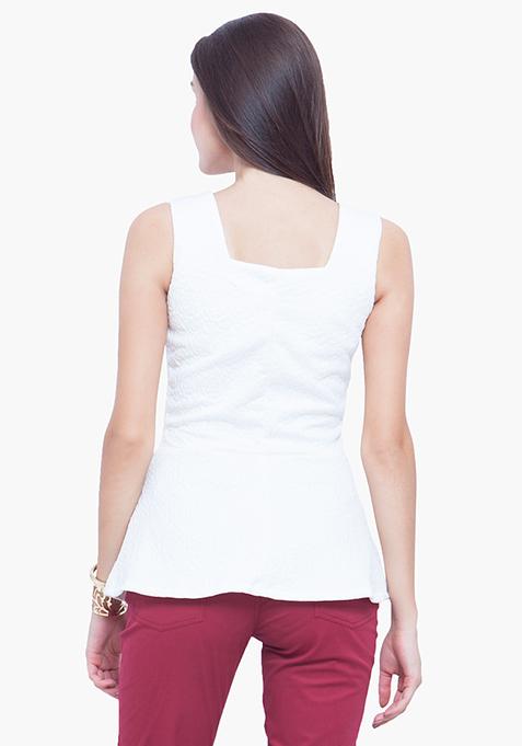 Peplum Perfect Top - White