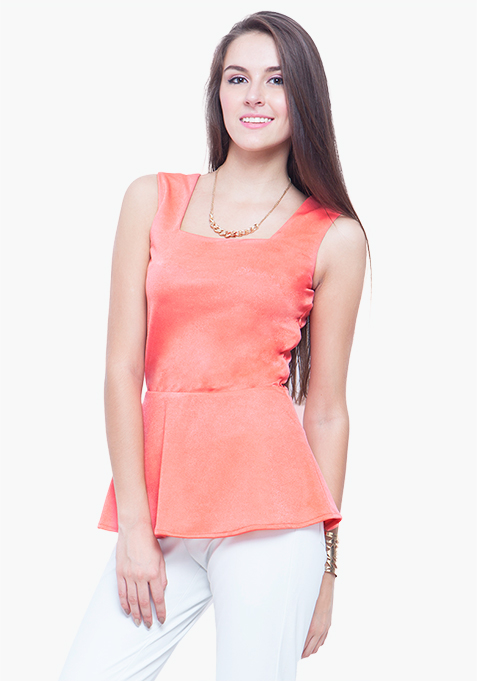 Peplum Perfect Top - Coral