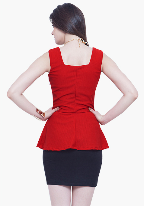 Peplum Perfect Top - Red