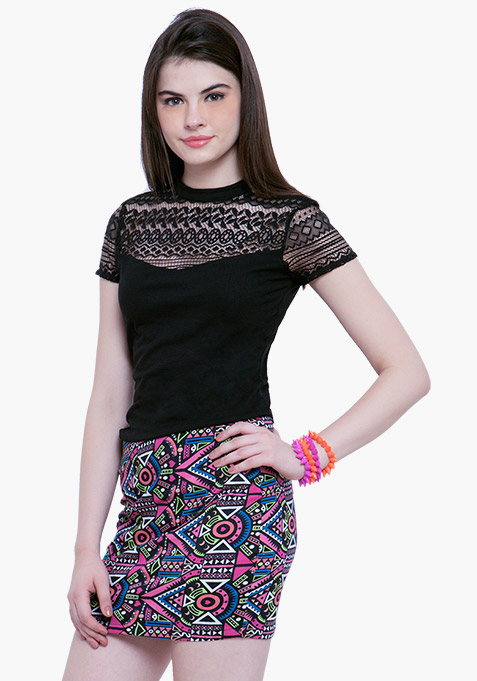 Lace Touch Tee - Black