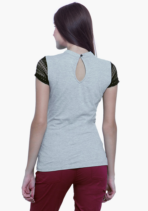 Lace Touch Tee - Grey