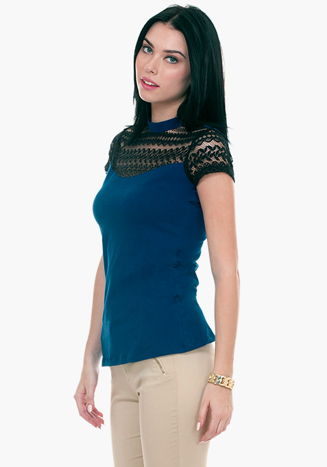 Lace Touch Tee - Blue