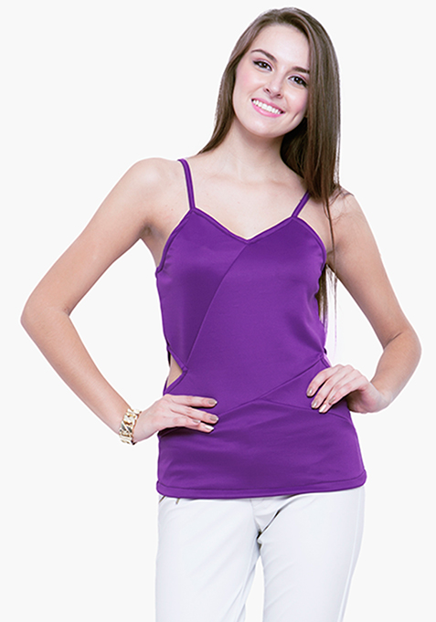 Peekaboo Scuba Top - Purple