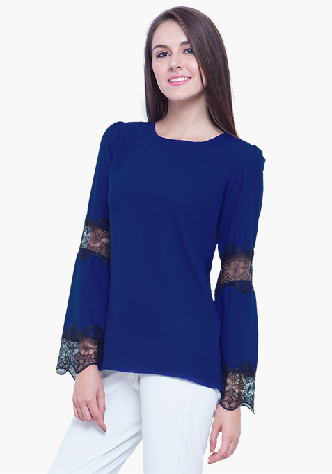 Lace Trapeze Top - Blue