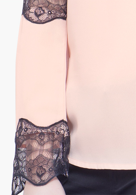 Lace Trapeze Top - Blush