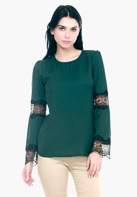 Lace Trapeze Top - Green