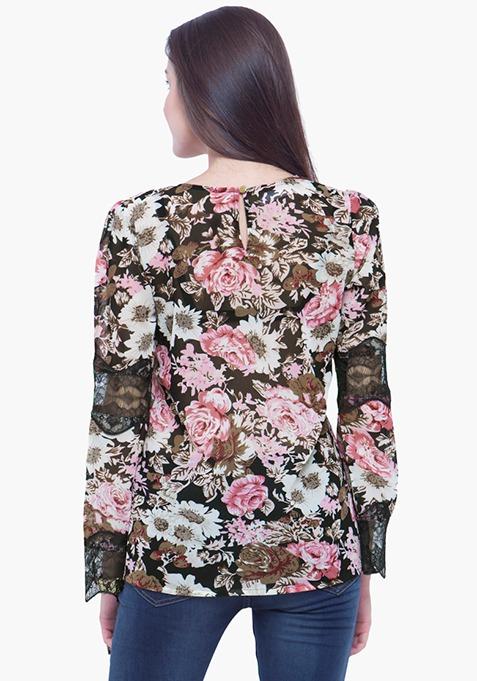 Lace Trapeze Top - Floral