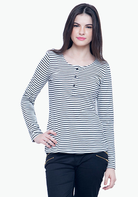 Classic Henley Tee - White Stripes