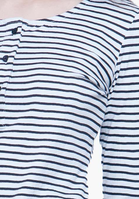 Classic Henley Tee - White Stripes