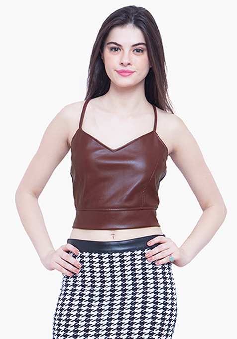 Rock Chick Leather Crop Top - Maroon