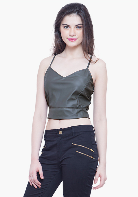 Rock Chick Leather Crop Top - Grey