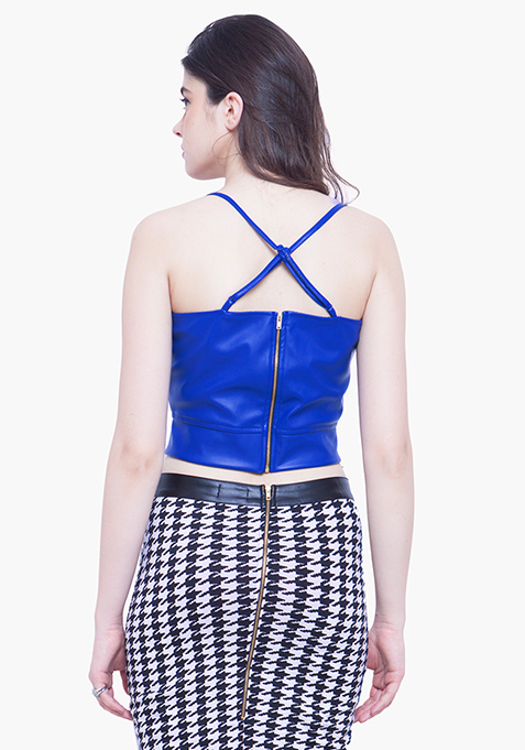 Rock Chick Leather Crop Top - Blue