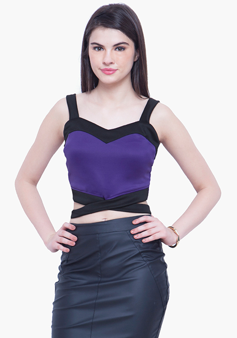 Sassy Bralet Crop Top - Purple