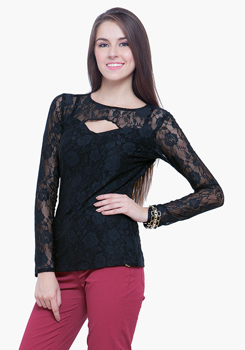 Goth Lace Cut Out Top - Black