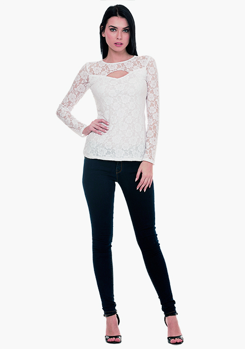 Goth Lace Cut Out Top - White