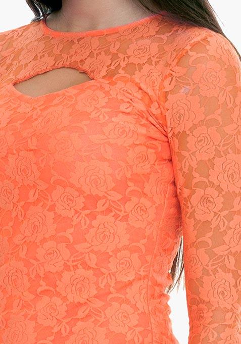 Goth Lace Cut Out Top - Peach