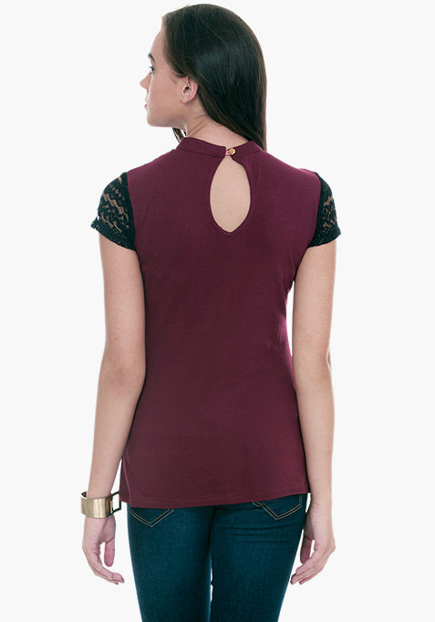 Lace Touch Tee - Oxblood