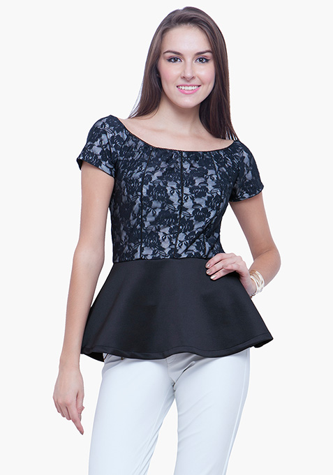 Glam Lace Peplum Top - White