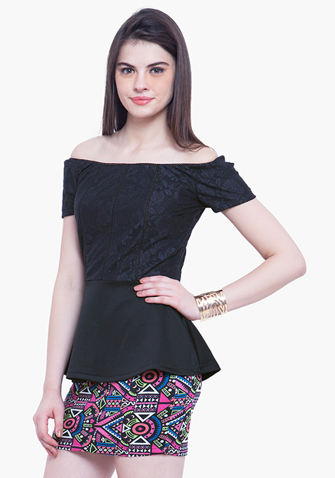 Glam Lace Peplum Top - Black