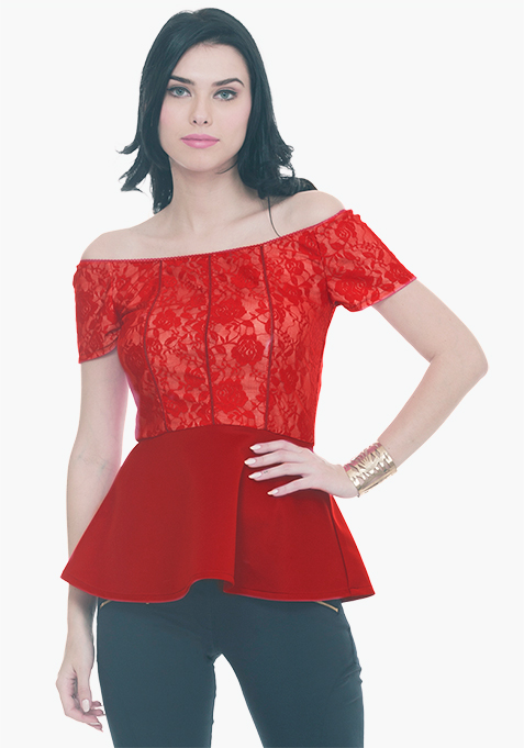 Glam Lace Peplum Top - Red