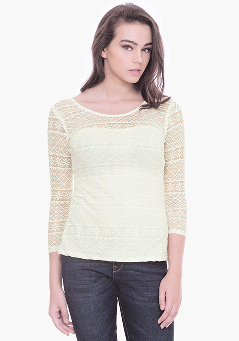 Ivory Aztec Lace Top