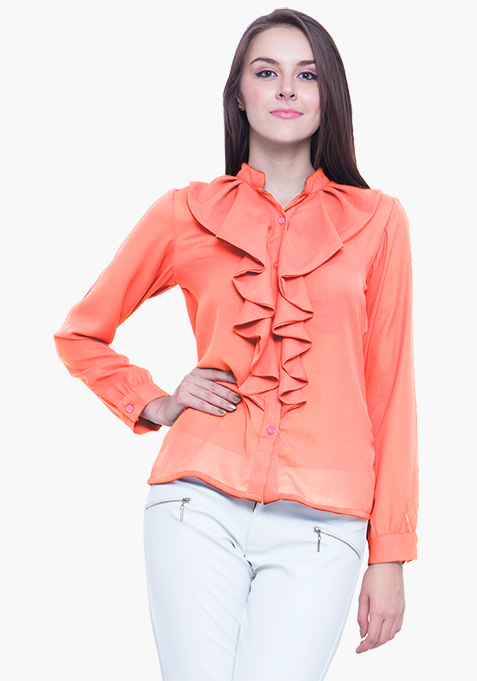 Coral Cool Ruffled Shirt