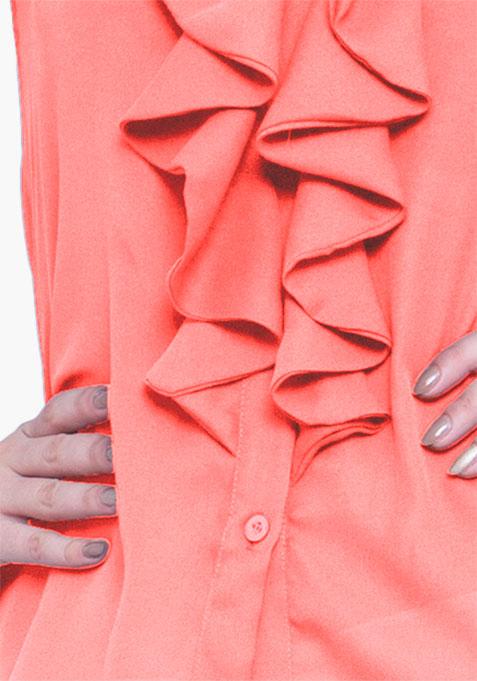 Coral Cool Ruffled Shirt