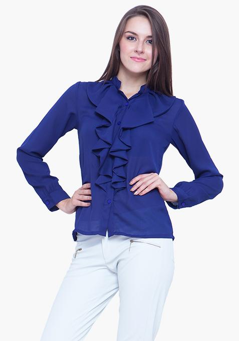 Navy Cool Ruffled Shirt