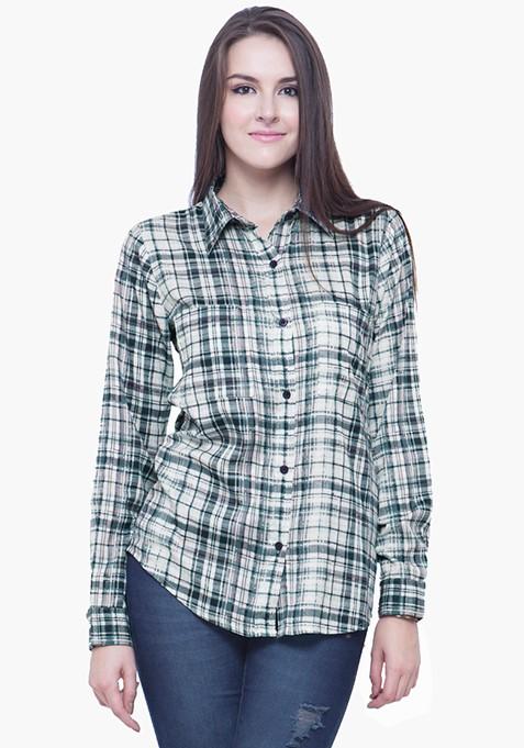 Checkered Boyfriend Shirt - Blue