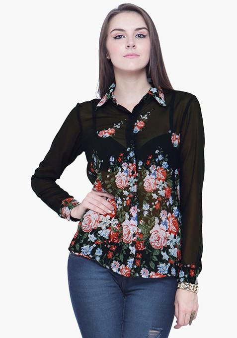Sheer Glam Floral Shirt