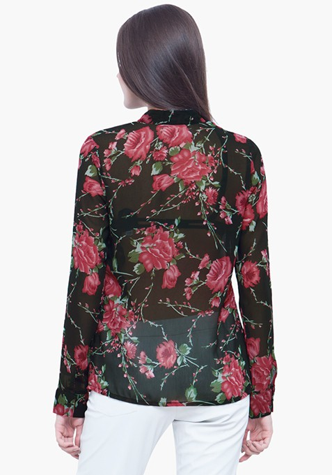 Sheer Sight Dusk Floral Shirt
