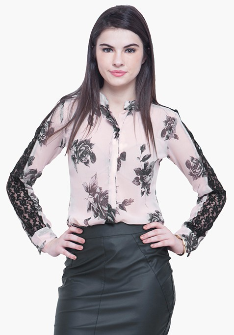 Lace Sleeves Shirt - Blush Floral