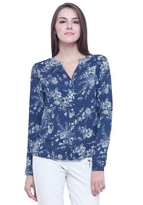 Blue Elegance Floral Shirt