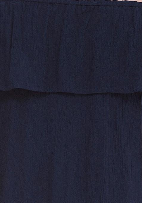 Off-Shoulder Ruffled Top - Blue