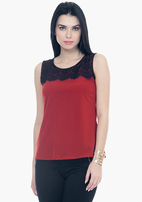 Lace Lash Blouse - Oxblood