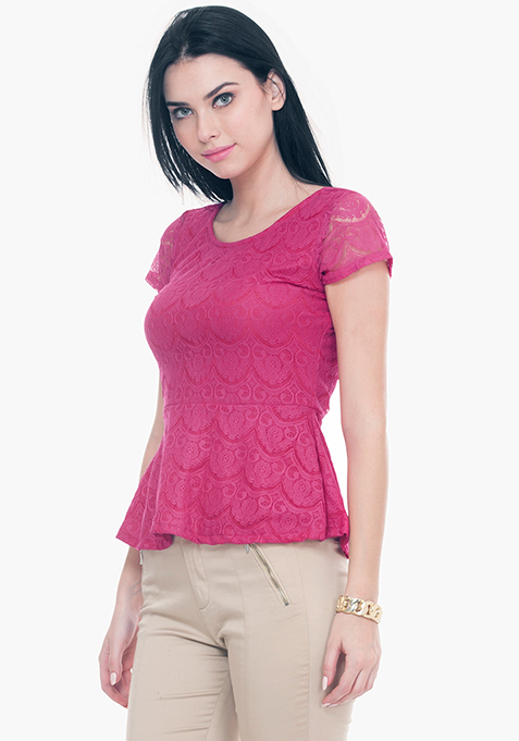 Get Laced Peplum Top - Pink