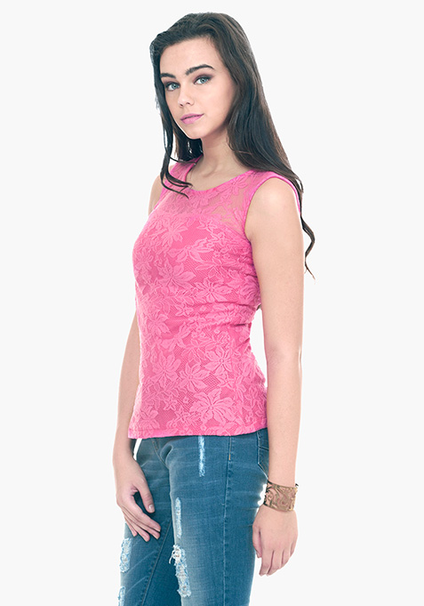 Daisy Daze Lace Top - Pink
