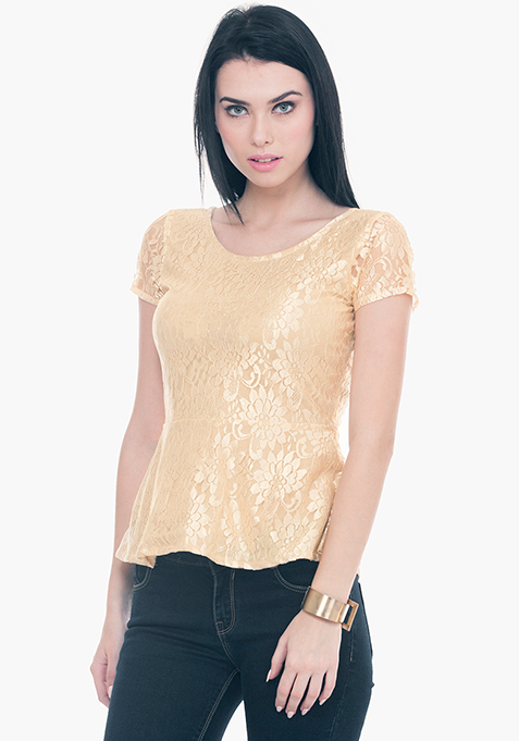 Get Laced Peplum Top - Gold