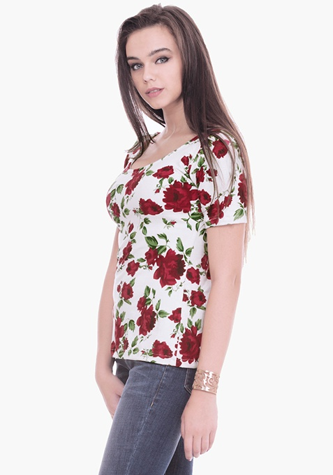 Floral Scoop Tee - White