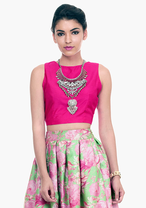 Fuchsia Fame Silk Crop Top